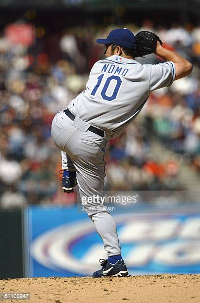 Hideo Nomo of the Los Angeles Dodgers pitches during the game against the San Francisco Giants on June 24 2004 at SBC Park in San Francisco...