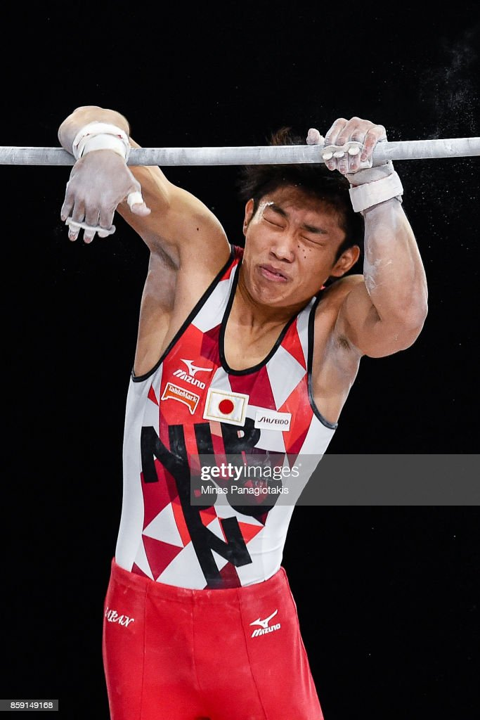 Hidetaka Miyachi of Japan slips while competing on the horizontal bar during the individual apparatus finals of the Artistic Gymnastics World Championships on October 8, 2017 at Olympic Stadium in Montreal, Canada.