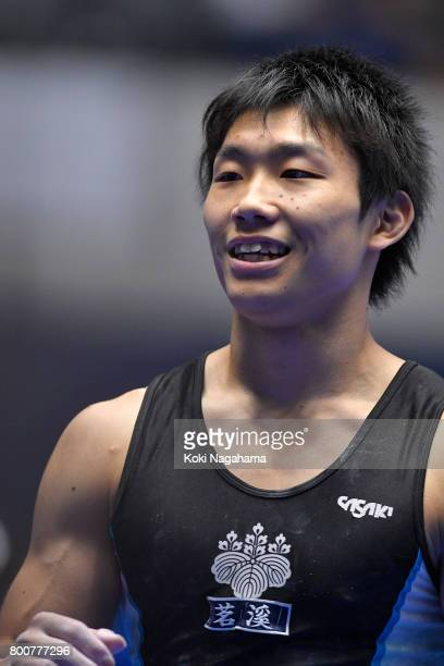 Hidetaka Miyaji celebrates after competing in the Horizontal Bar during Japan National Gymnastics Apparatus Championships at the Takasaki Arena on...
