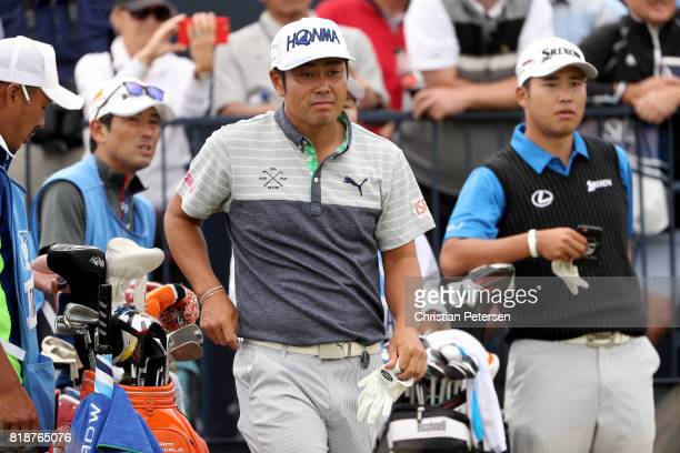 Hideto Tanihara of Japan and Hideki Matsuyama of Japan on the 4th tee during a practice round prior to the 146th Open Championship at Royal Birkdale...