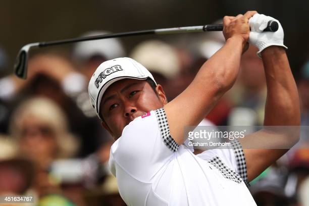 Hideto Tanihara of Japan hits a tee shot during day four of the World Cup of Golf at Royal Melbourne Golf Course on November 24 2013 in Melbourne...