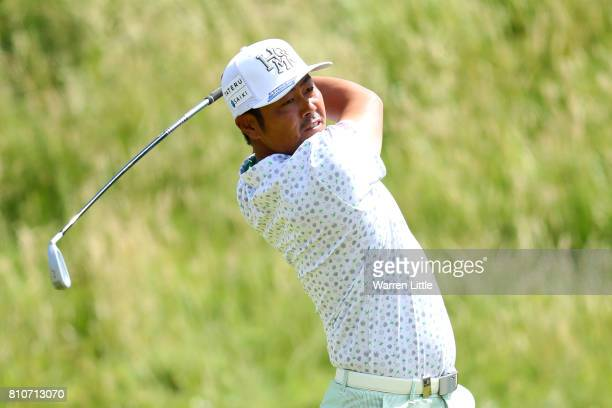 Hideto Tanihara of Japan hits his second shot on the 4th hole during day three of the Dubai Duty Free Irish Open at Portstewart Golf Club on July 8...