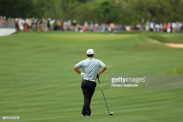 Hideto Tanihara of Japan lines up a shot on the 16th hole of his match during round three of the World Golf ChampionshipsDell Technologies Match Play...