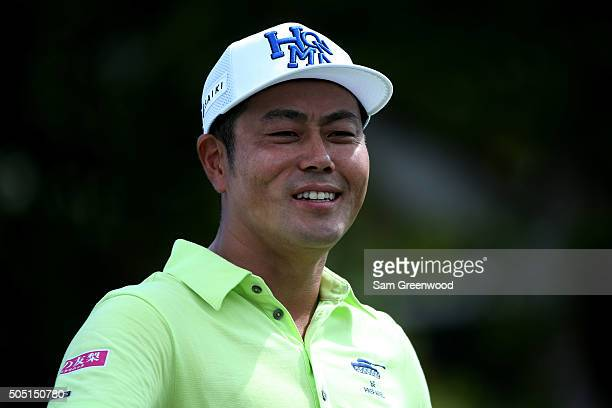Hideto Tanihara of Japan looks on from the first tee during the second round of the Sony Open In Hawaii at Waialae Country Club on January 15 2016 in...