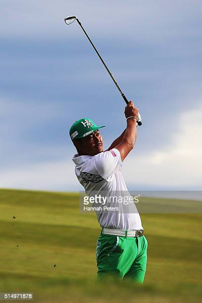 Hideto Tanihara of Japan plays a shot during day three of the 2016 New Zealand Open at The Hills on March 12 2016 in Queenstown New Zealand