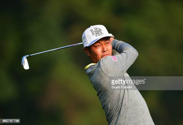 Hideto Tanihara of Japan plays a shot during day two of the Italian Open at Golf Club Milano Parco Reale di Monza on October 13 2017 in Monza Italy