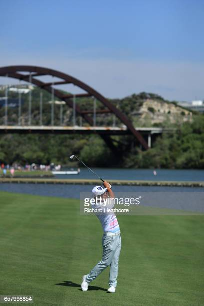 Hideto Tanihara of Japan plays a shot on the 13th hole of his match during the semifinals of the World Golf ChampionshipsDell Technologies Match Play...
