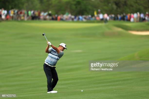 Hideto Tanihara of Japan plays a shot on the 16th hole of his match during round three of the World Golf ChampionshipsDell Technologies Match Play at...