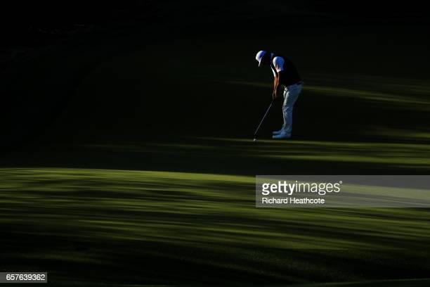 Hideto Tanihara of Japan plays a shot on the 2nd hole of his match during round four of the World Golf ChampionshipsDell Technologies Match Play at...