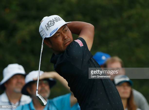 Hideto Tanihara of Japan plays his shot from the 13th tee during the second round of the 2017 PGA Championship at Quail Hollow Club on August 11 2017...