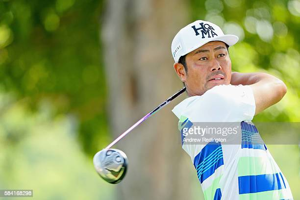 Hideto Tanihara of Japan plays his shot from the 15th tee during the first round of the 2016 PGA Championship at Baltusrol Golf Club on July 28 2016...