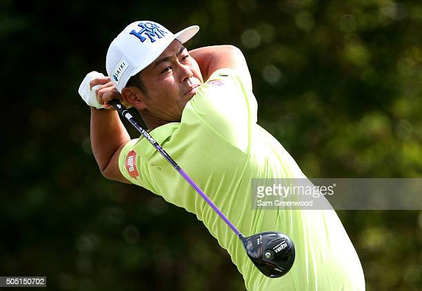 Hideto Tanihara of Japan plays his shot from the first tee during the second round of the Sony Open In Hawaii at Waialae Country Club on January 15...
