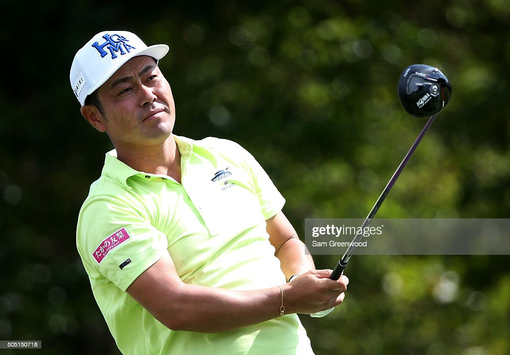 Hideto Tanihara of Japan plays his shot from the first tee during the second round of the Sony Open In Hawaii at Waialae Country Club on January 15, 2016 in Honolulu, Hawaii.