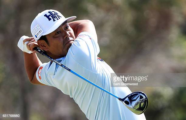 Hideto Tanihara of Japan plays his shot from the first tee during the final round of the Sony Open In Hawaii at Waialae Country Club on January 15...