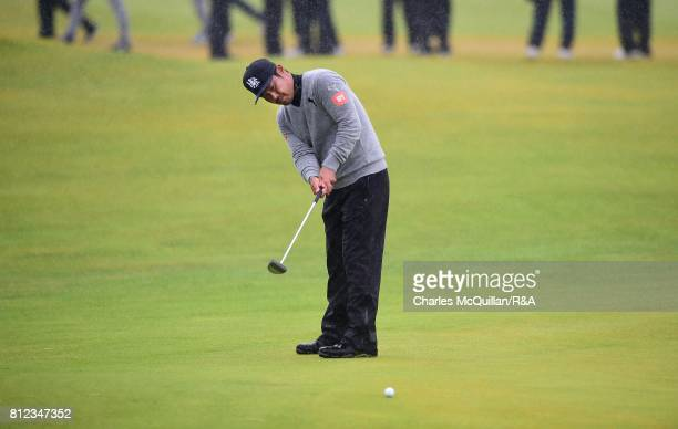 Hideto Tanihara of Japan putting on the 18th green during the Dubai Duty Free Irish Open hosted by the Rory Foundation at Portstewart Golf Club on...