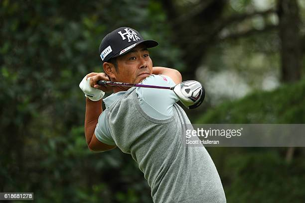 Hideto Tanihara of Japan tees off on the 11th hole during day two of the WGC HSBC Champions at Sheshan International Golf Club on October 28 2016 in...