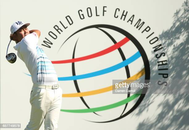 Hideto Tanihara of Japan tees off on the 15th hole of his match during round five of the World Golf ChampionshipsDell Technologies Match Play at the...