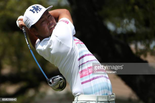 Hideto Tanihara of Japan tees off on the 1st hole during the consolation match of the World Golf ChampionshipsDell Technologies Match Play at the...