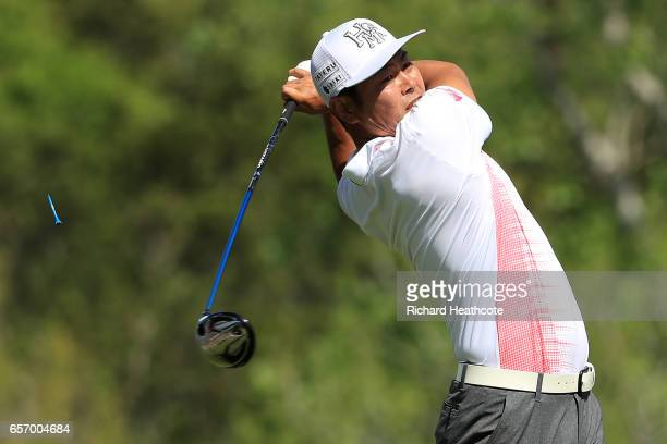 Hideto Tanihara of Japan tees off on the 3rd hole of his match during round two of the World Golf ChampionshipsDell Technologies Match Play at the...