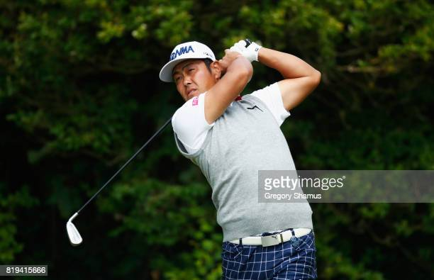 Hideto Tanihara of Japan tees off on the 5th hole during the first round of the 146th Open Championship at Royal Birkdale on July 20 2017 in...