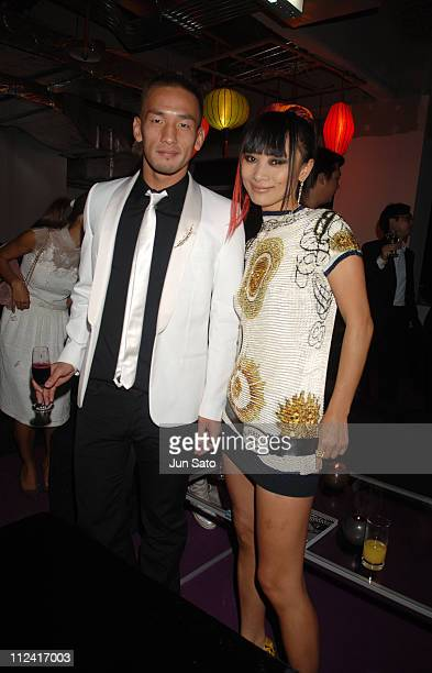 Hidetoshi Nakata and Bai Ling during 'WE West Meets East Magazine' Launch Party at Taipei 101 in Taipei Taiwan