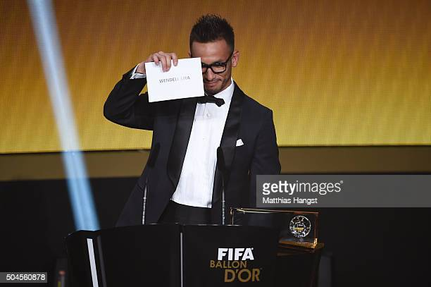 Hidetoshi Nakata announces Wendell Lira of Brazil and Vila Nova as the winner of the FIFA Puskas Award during the FIFA Ballon d'Or Gala 2015 at the...