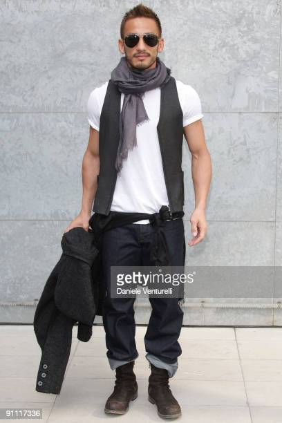 Hidetoshi Nakata attends the Giorgio Armani Fashion Show as part of the Milan Womenswear Fashion Week Spring/Summer 2010 at the Milano Fashion Center...