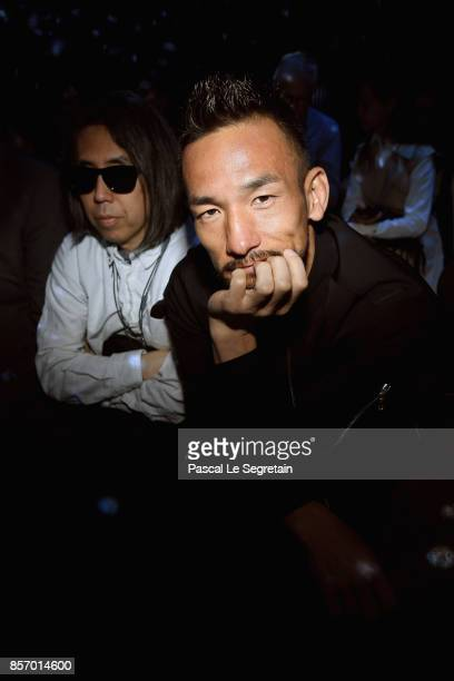 Hidetoshi Nakata attends the Moncler Gamme Rouge show as part of the Paris Fashion Week Womenswear Spring/Summer 2018 on October 3 2017 in Paris...