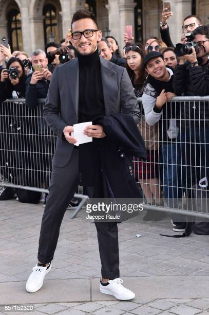 Hidetoshi Nakata is seen arriving at Louis Vuitton show during Paris Fashion Week Womenswear Spring/Summer 2018 on October 3 2017 in Paris France