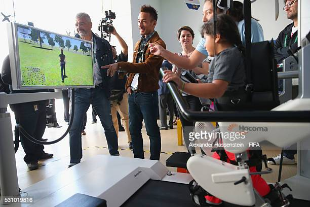 Hidetoshi Nakata looks on as he and the FIFA Legends visit the Teleton foundation rehabilitation center at CRIT Estado de M��xico ahead of the 66th...