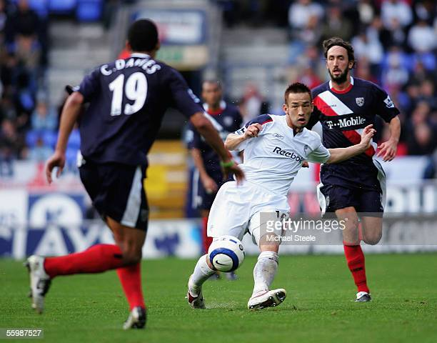 Hidetoshi Nakata of Bolton threads a pass through during the Barclays Premiership match between Bolton Wanderers and West Bromwich Albion at the...
