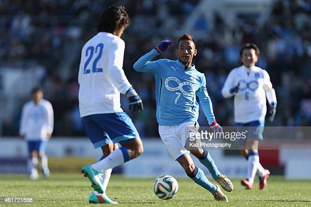 Hidetoshi Nakata of J Amigos in action during the Daisuke Oku Memorial Match between J Amigos and Yokohama Friends at Yamaha Stadium on January 18...