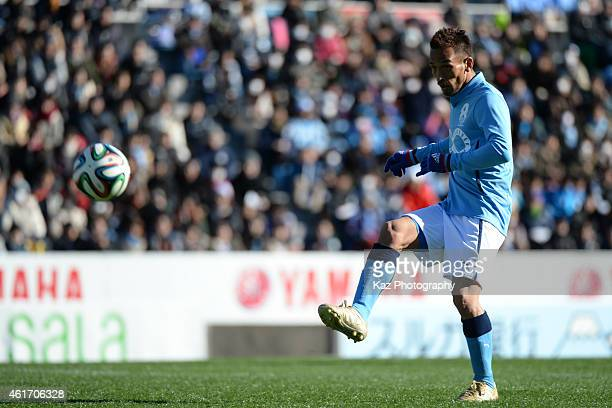 Hidetoshi Nakata of J Amigos passes the ball during the Daisuke Oku Memorial Match between J Amigos and Yokohama Friends at Yamaha Stadium on January...