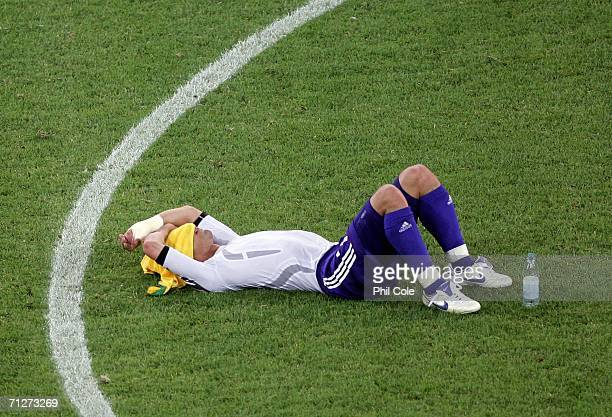 Hidetoshi Nakata of Japan looks dejected after losing to Brazil after the FIFA World Cup Germany 2006 Group F match between Japan and Brazil at the...
