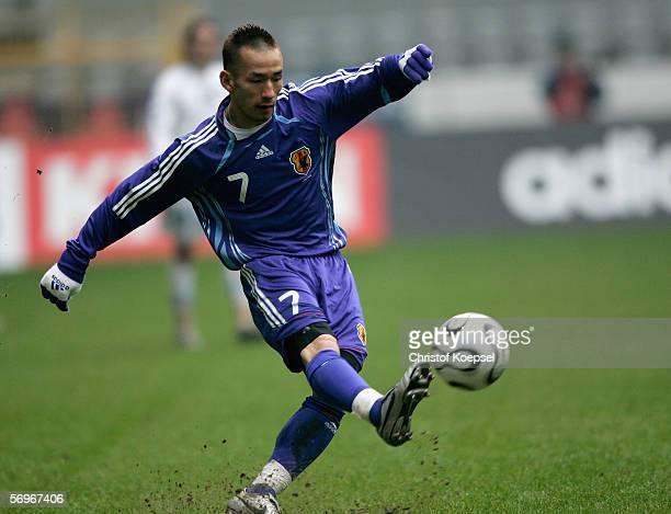 Hidetoshi Nakata of Japan shoots the ball during the international friendly match between Japan and Bosnia Herzegovina at the Signal Iduna Park on...