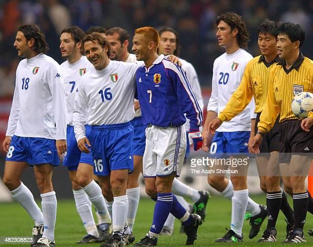 Hidetoshi Nakata of Japan smiles after the international friendly match between Japan and Italy at Saitama Stadium on November 7 2001 in Saitama Japan