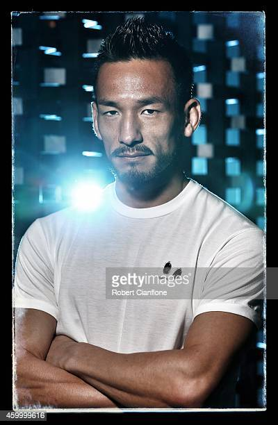 Hidetoshi Nakata poses during a Global Legends Series portrait session at the Swissotel on December 5 2014 in Bangkok Thailand
