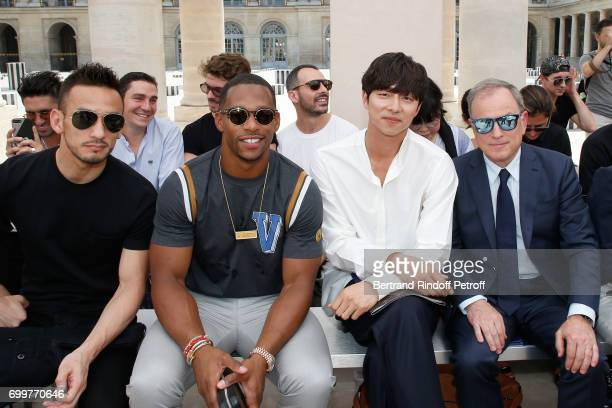 Hidetoshi Nakata Victor Cruz Gong Yoo and Chief Executive Officer of Louis Vuitton Michael Burke attend the Louis Vuitton Menswear Spring/Summer 2018...