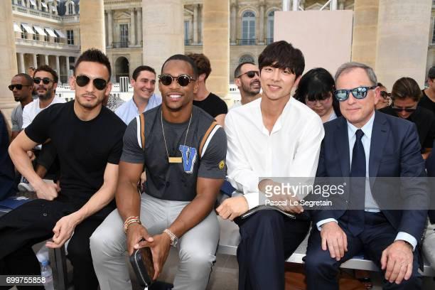 Hidetoshi NakataVictor CruzGong Yoo and Louis Vuitton CEO Michael Burke attend the Louis Vuitton Menswear Spring/Summer 2018 show as part of Paris...