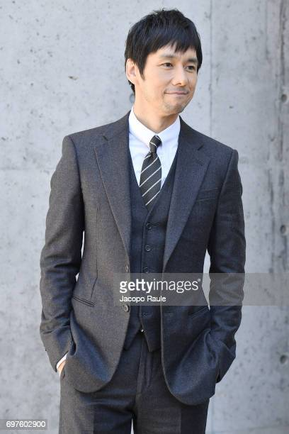 Hidetoshi Nishijima attends the Giorgio Armani show during Milan Men's Fashion Week Spring/Summer 2018 on June 19 2017 in Milan Italy
