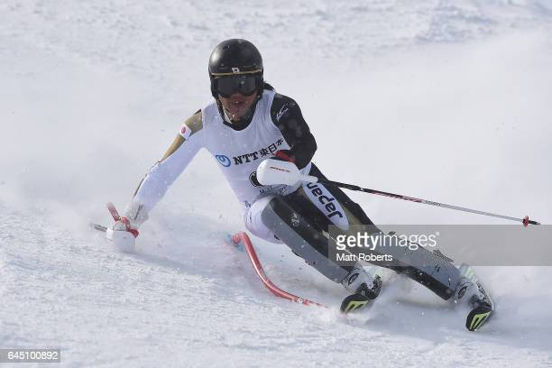 Hideyuki Narita competes in men's slalom alpine skiing on the day eight of the 2017 Sapporo Asian Winter Games at Sapporo Teine on February 25 2017...