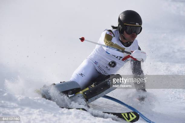 Hideyuki Narita of Japan competes in men's slalom alpine skiing on the day eight of the 2017 Sapporo Asian Winter Games at Sapporo Teine on February...