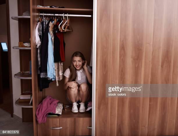 hiding in the wardrobe