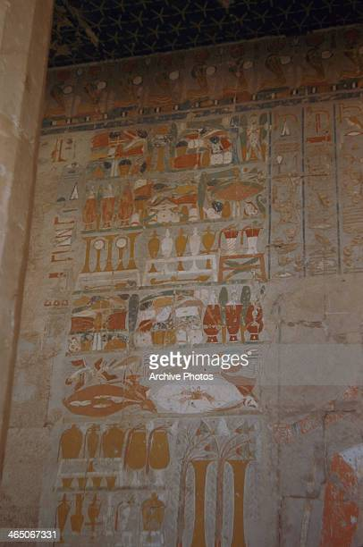 Hieroglyphs inside the Mortuary Temple of Queen Hatshepsut in Egypt circa 1960