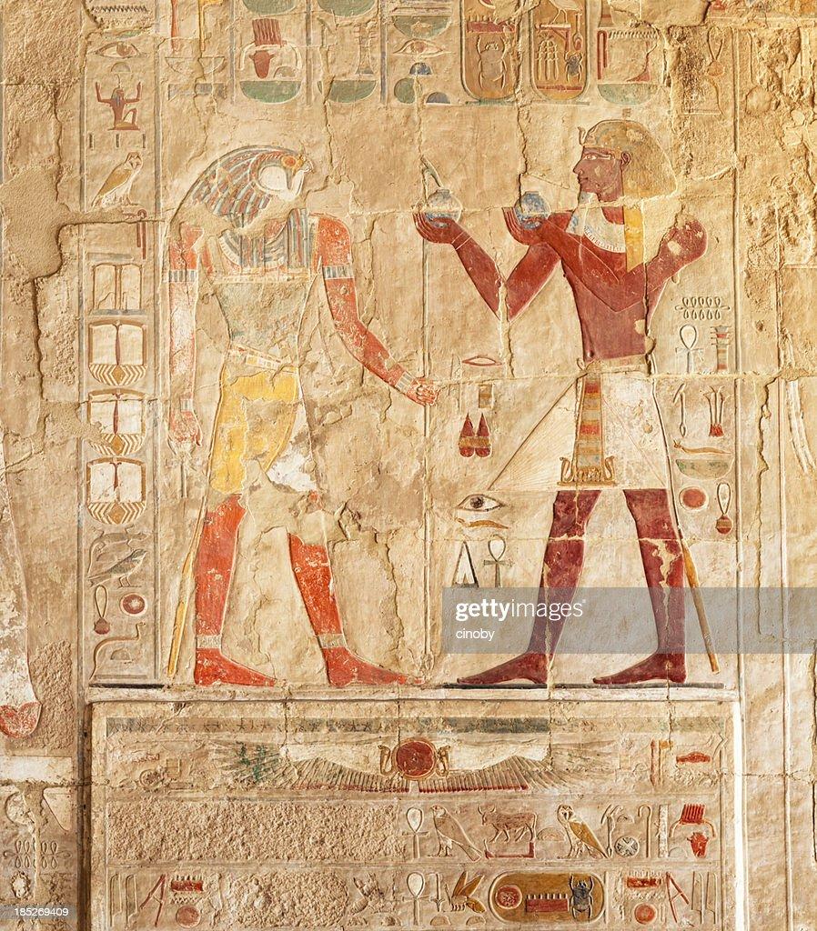 Hieroglyphs on an Egyptian funerary stela of Hatshepsut Temple