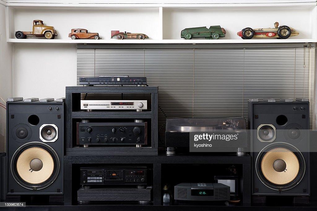 Hi-Fi sound system with vintage tin toy car