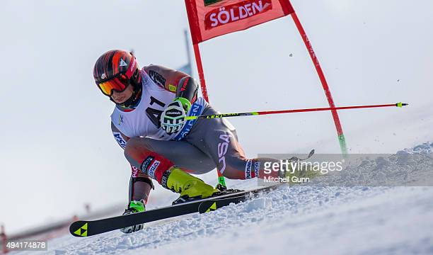 Hig Roberts of The USA during the Audi FIS Ski World Cup men's giant slalom race on the Rettenbach Glacier on 25 October 2015 in Soelden Austria