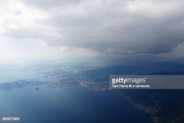 Higashisonogi and Kawanata town, daytime aerial view from airplane
