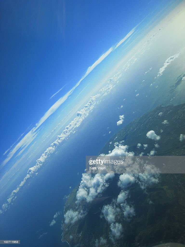 High above an island in the Caribbean. : Stock Photo