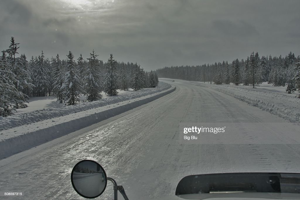 High Altitude 'Ice Road' Trucking : Stock Photo
